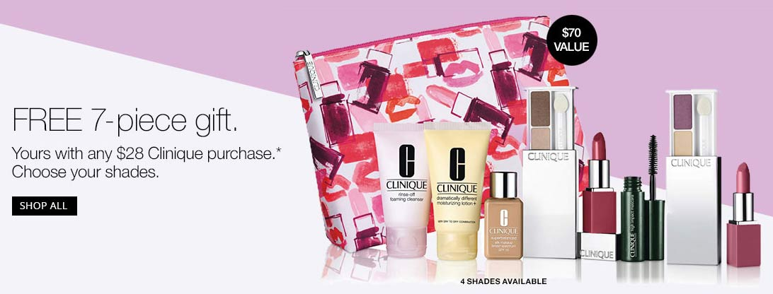 Purchase $28+ to get Clinique Bonus Time gifts | Dec 2017